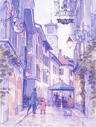 小さな時計塔のある通り